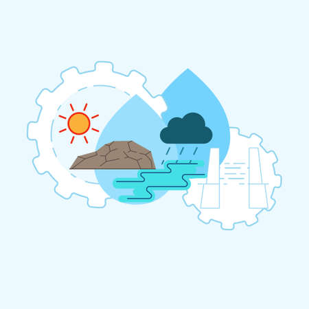 Water management concept. Water distribution system metaphor. Maximize efficient use of water resource. Symbol of water development. Vector illustration concept outline flat design style.