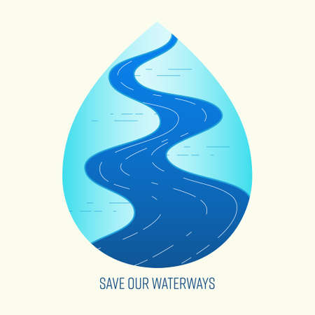 Save waterway concept. Prevent water pollution metaphor. Symbol of water conservation. Vector illustration outline flat design style.