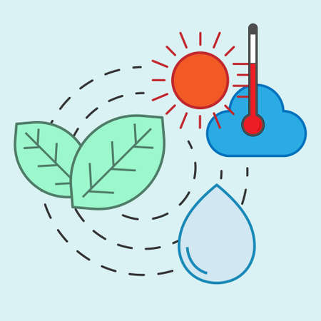 Forest and water relation influenced by climate change. Symbol of environmental impact. Vector illustration outline flat design style. Illusztráció