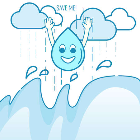 Rainwater harvesting concept. Benefit of rainwater harvesting metaphor. Rainwater accumulation encouragement. Vector illustration outline flat design style. Çizim
