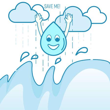 Rainwater harvesting concept. Benefit of rainwater harvesting metaphor. Rainwater accumulation encouragement. Vector illustration outline flat design style. Illustration