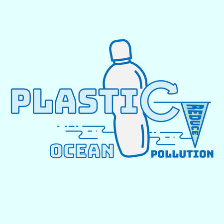 The significance of plastic bottle recycling to reduce ocean plastic pollution. Typographic symbol of single-use plastic recycling. Vector illustration outline flat design style.