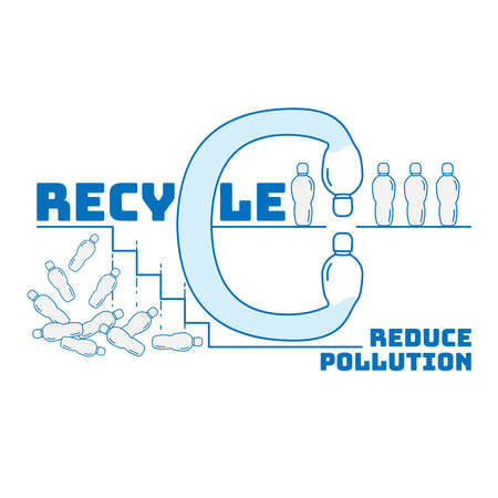 The significance of plastic bottle recycling to reduce plastic pollution. Typographic symbol of single-use plastic recycling. Vector illustration outline flat design style.