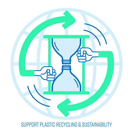 Support single-use plastic bottle recycling concept. Bottle shape applied to hourglass icon as a sustainability symbol. Vector illustration outline flat design style.