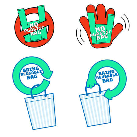 No single-use plastic and bring reusable bag symbol set. Element of design for environment. Vector illustration outline flat design style.