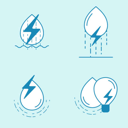 Hydropower outline icon set. Water drop with energy symbol. Element of design for renewable energy. Vector illustration. Illustration