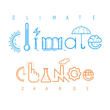 Climate change typographic design. Pictorial symbols for phrase. Cause and effect presented in pictorial form. Vector illustration outline flat design style.