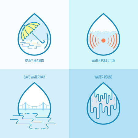 Water environment icon set. Symbol of water awareness. Vector illustration outline flat design style. Иллюстрация