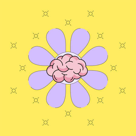 Brain icon with purple flower blossom background. Developing growth mindset concept. Vector illustration outline flat design style. Illusztráció