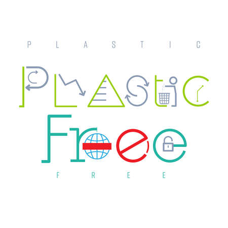 Plastic free typographic design. Pictorial symbol. Reducing the amount of single-use plastic presented in pictorial form. Vector illustration outline flat design style. Illusztráció