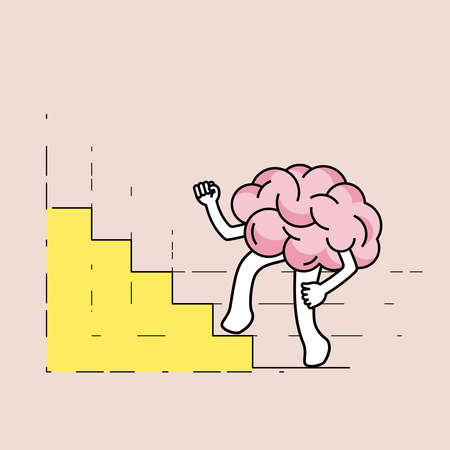 Brain cartoon walking up stairs, as a bar graph gimmick. Developing growth mindset concept. Vector illustration outline flat design style.