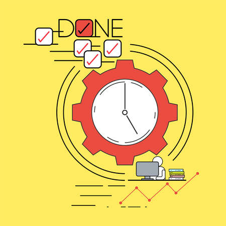 Productive routine concept. Being effective at work. Time management. Vector illustration outline flat design style. Illustration