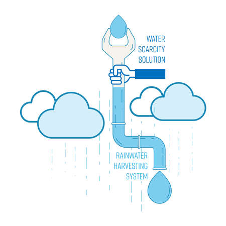 Water scarcity solution concept. Installaion of rainwater harvesting system at home can reduce water shortage. Vector illustration outline flat design style.