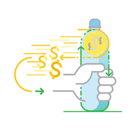 Claim money back by returning single-use plastic bottle to be recycled. How does bottle deposit scheme work concept. Plastic recycling symbol. Vector illustration outline flat design style.