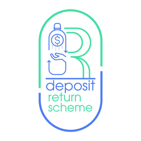 Refund is given when returning single-use plastic bottle to be recycled. Deposit return scheme concept. Vector illustration outline flat design style.  イラスト・ベクター素材