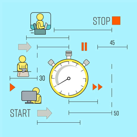 Productive routine concept. Race against time metaphor. The hustle and bustle of daily life. Vector illustration outline flat design style.