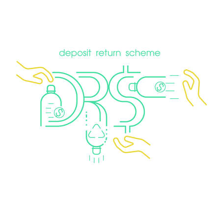 Refund is given when returning single-use plastic bottle to be recycled. Deposit return scheme pictorial symbol. DRS typographic design. Vector illustration outline flat design style.  イラスト・ベクター素材