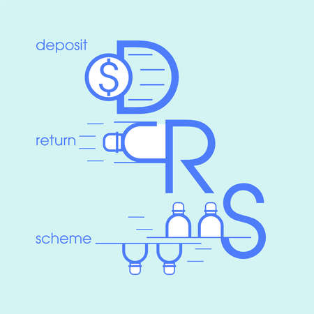 Deposit return scheme pictorial symbol. DRS typographic design. Advance fee and refund of single-use plastic bottle when it is returned to be recycled. Vector illustration outline flat design style.