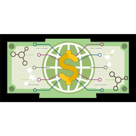 Digital dollar can be used globally with internet connection. Future digital finance symbol. vector illustration outline flat design style.