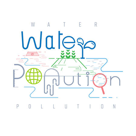 Water pollution typographic design. Pictorial symbol. Storm drain and wastewater causing water pollution presented in pictorial form. Vector illustration outline flat design style.