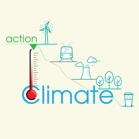 Action to reduce global warming and climate change infographic. Graph moving down as a gimmick representing sustainable solutions. Vector illustration outline flat design style. Illusztráció