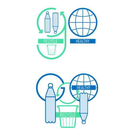 Go recycle, go green typographic symbol set. Preserve the environment by sorting and returning single-use plastic waste to be recycled. Vector illustration outline flat design style.
