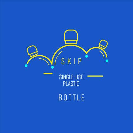 Skip single-use plastic bottle symbol. Boucing line implied to bottle shape as a gimmick of skipping. Vector illustration outline flat design style.