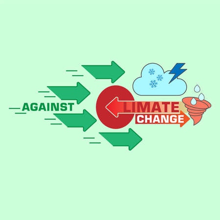 Against climate change typographic design. Stop climate change symbolic background. Vector illustration outline flat design style. Illustration
