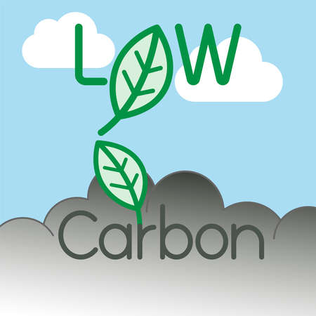 Low carbon typographic design. Carbon dioxide reduction symbol. Vector illustration outline flat design style.