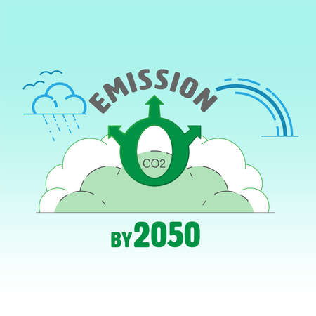 CO2 zero emission by 2050 typographic design. Carbon neutrality symbol. Vector illustration outline flat design style.