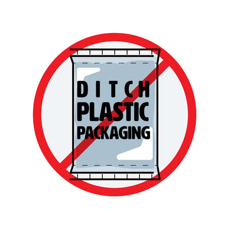 Ditch plastic packaging symbol. Stop packing product with unnecessary package to reduce plastic pollution. Vector illustration outline flat design style.