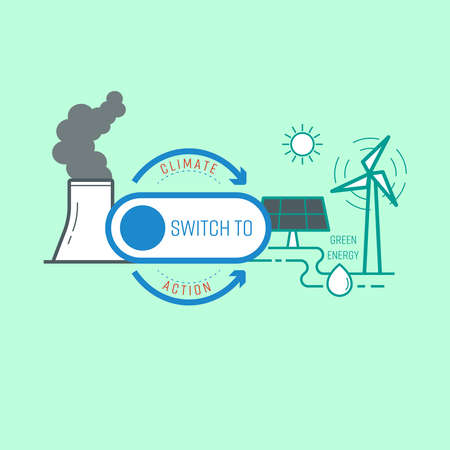 Switch button as a gimmick representing action of turning to green energy, helping to reduce climate change. Vector illustration outline flat design style.