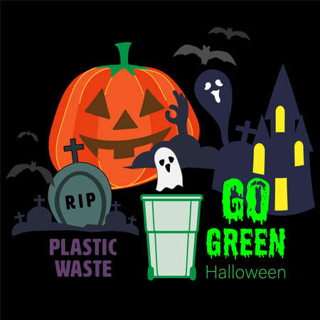 Avoid and reduce plastic waste to go green halloween. Celebrate in sustainable style. Vector illustration outline flat design style.