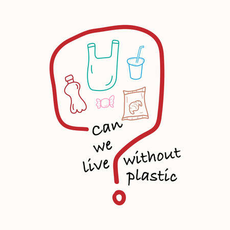Question mark with single-use plastic icons inside as a gimmick representing the question, can we live without plastic? Vector illustration outline flat design style.  イラスト・ベクター素材