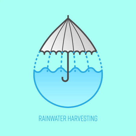 Rainwater harvesting symbol. Water drop shape imply to umbrella icon and water storage as a gimmick. Vector illustration outline flat design style.