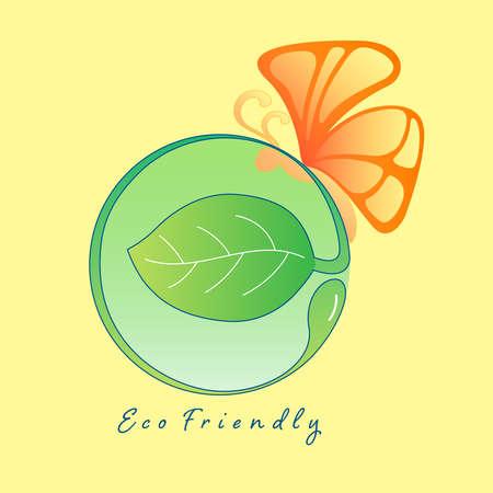 Eco friendly typographic design. Vector illustration outline flat design style. Illusztráció