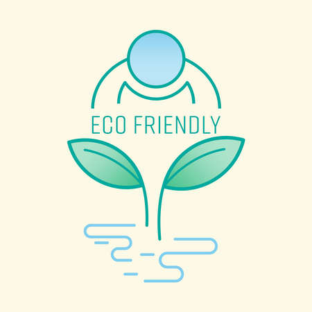Human caring for the use of natural resource. Eco friendly symbol. Vector illustration outline flat design style. Çizim