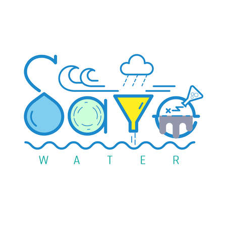 Save water typographic design. Vector illustration outline flat design style.