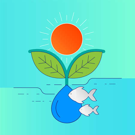 Sunlight, plant, animal and water. Environmental relevance concept. Vector illustration outline flat design style.