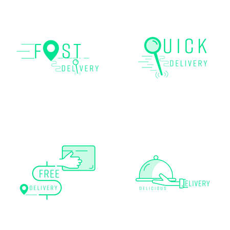 Food and parcel delivery service symbol set. Vector illustration icon design style. 矢量图像