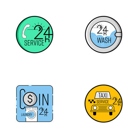 24 hour service logo set. Call center, coin laundry, taxi service. Vector illustraion outline flat design style. 矢量图像