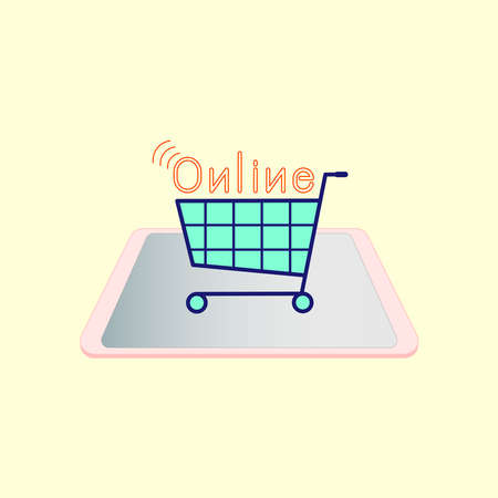Shopping cart on digital device screen with typographic design. Online shopping concept. Vector illustration outline flat design style.