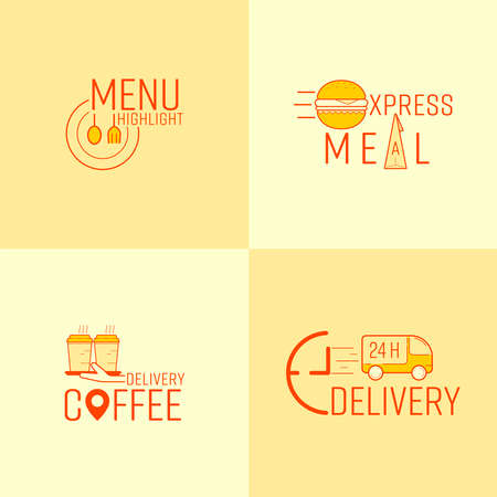 Food and beverage delivery business symbol set. Vector illustration icon design style. 矢量图像