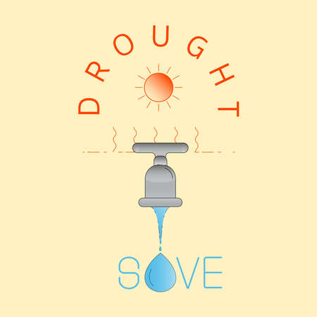 Drought leading to water shortage. Save water in dry season. Vector illustration outline flat design style. Illustration