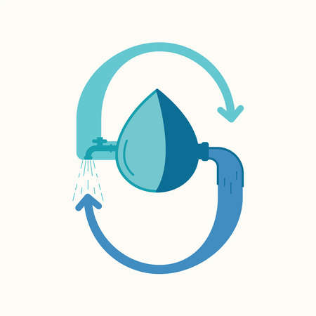 Water recycling and reuse. Vector illustration outline flat design style.