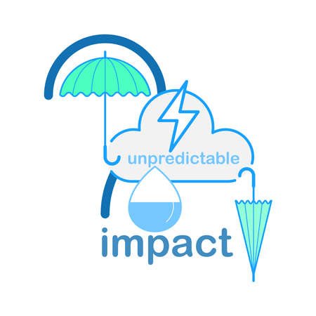 Unpredictable weather impacts on water. Vector illustration outline flat design style.