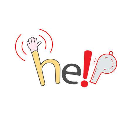 Help typographic design. Vector illustration outline flat design style. 일러스트