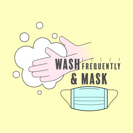 Wash hands frequently and mask yourself. Method of preventing Covid-19. Vector illustration outline flat design style.