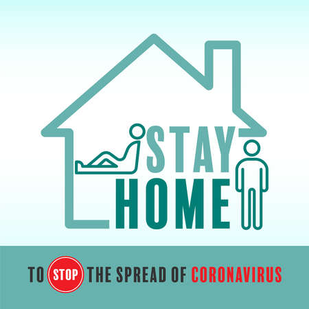 Stay home to stop the spread of coronavirus. Vector illustration outline flat design style.