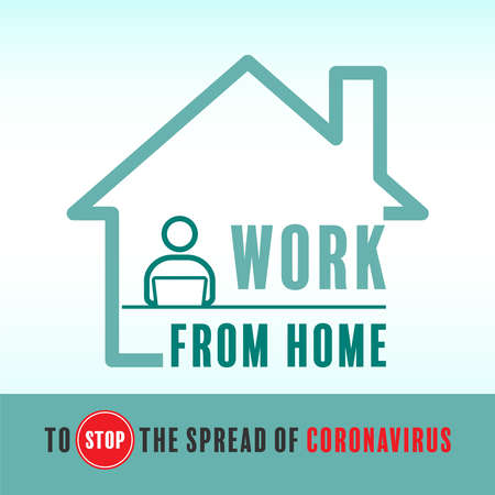 Work from home to stop the spread of coronavirus. Vector illustration outline flat design style.